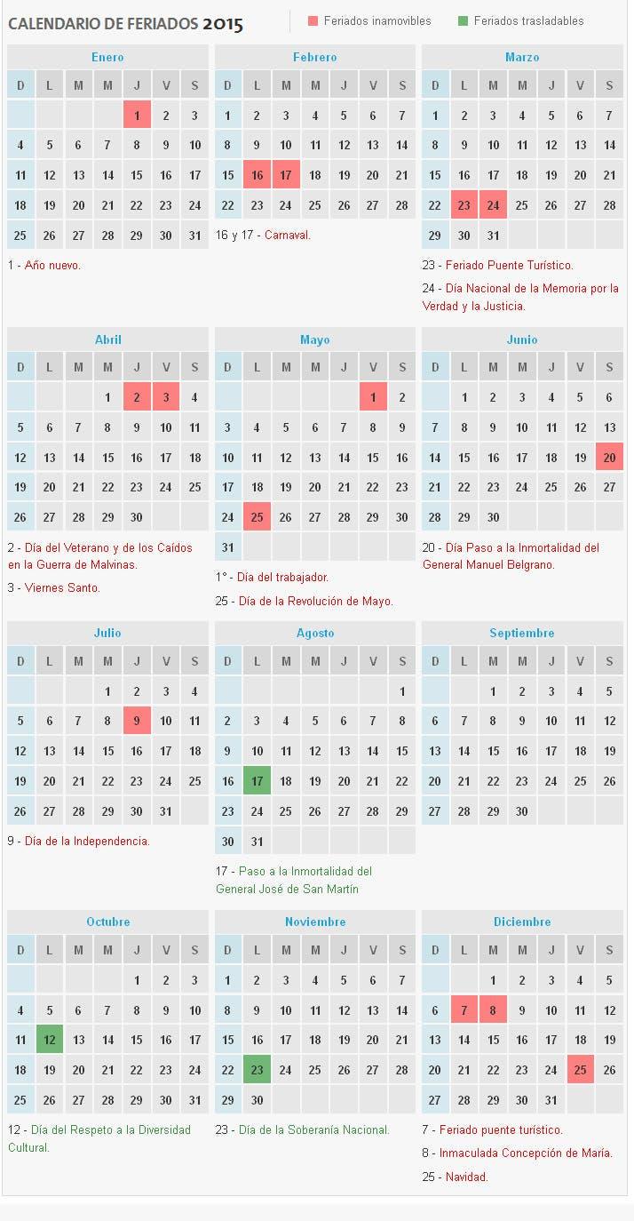 conoc el calendario de feriados 2015 la nacion
