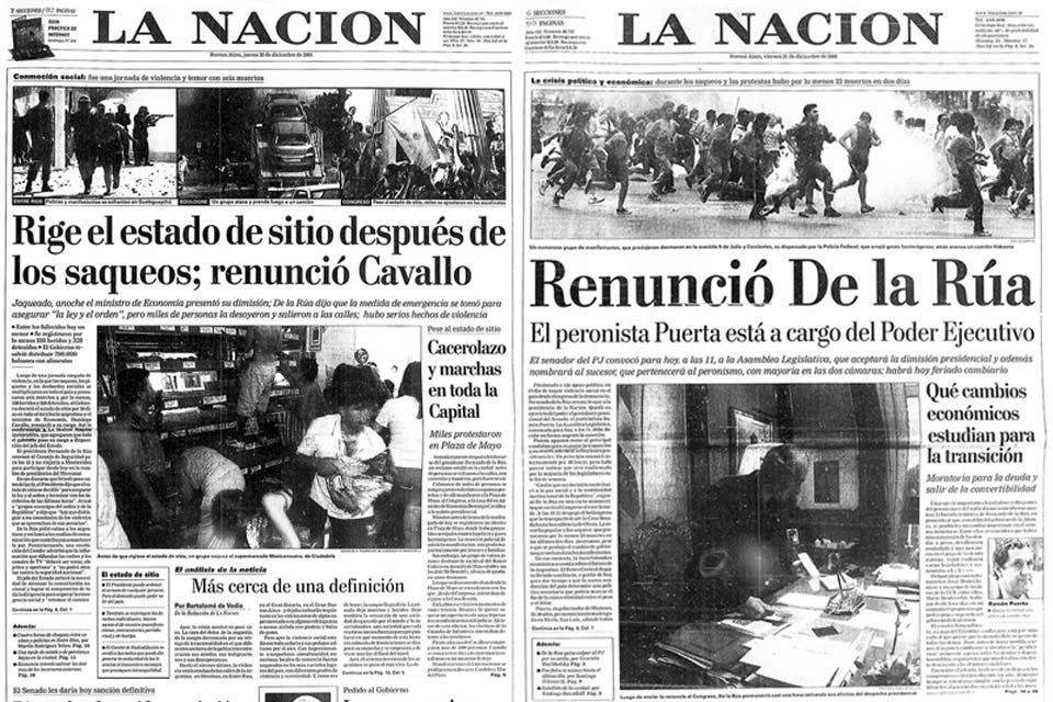 Qu dec a la nacion en los d as m s convulsionados de 2001 for Noticias del dia espectaculos argentina