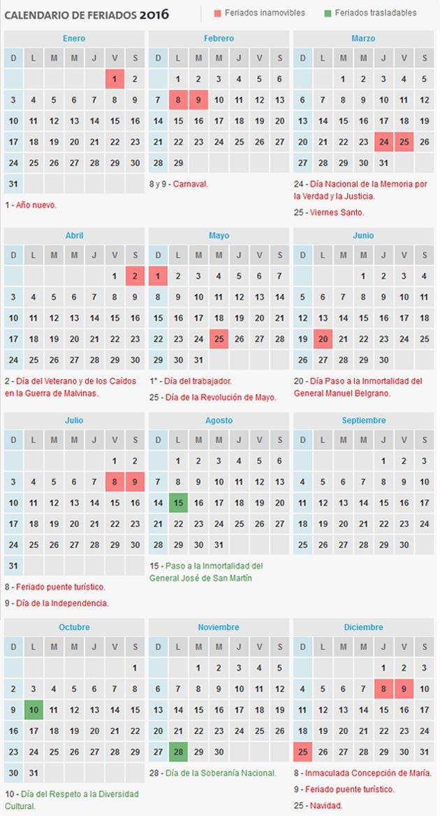 C mo es el calendario de feriados para 2016 for Calendario 2015 ministerio del interior