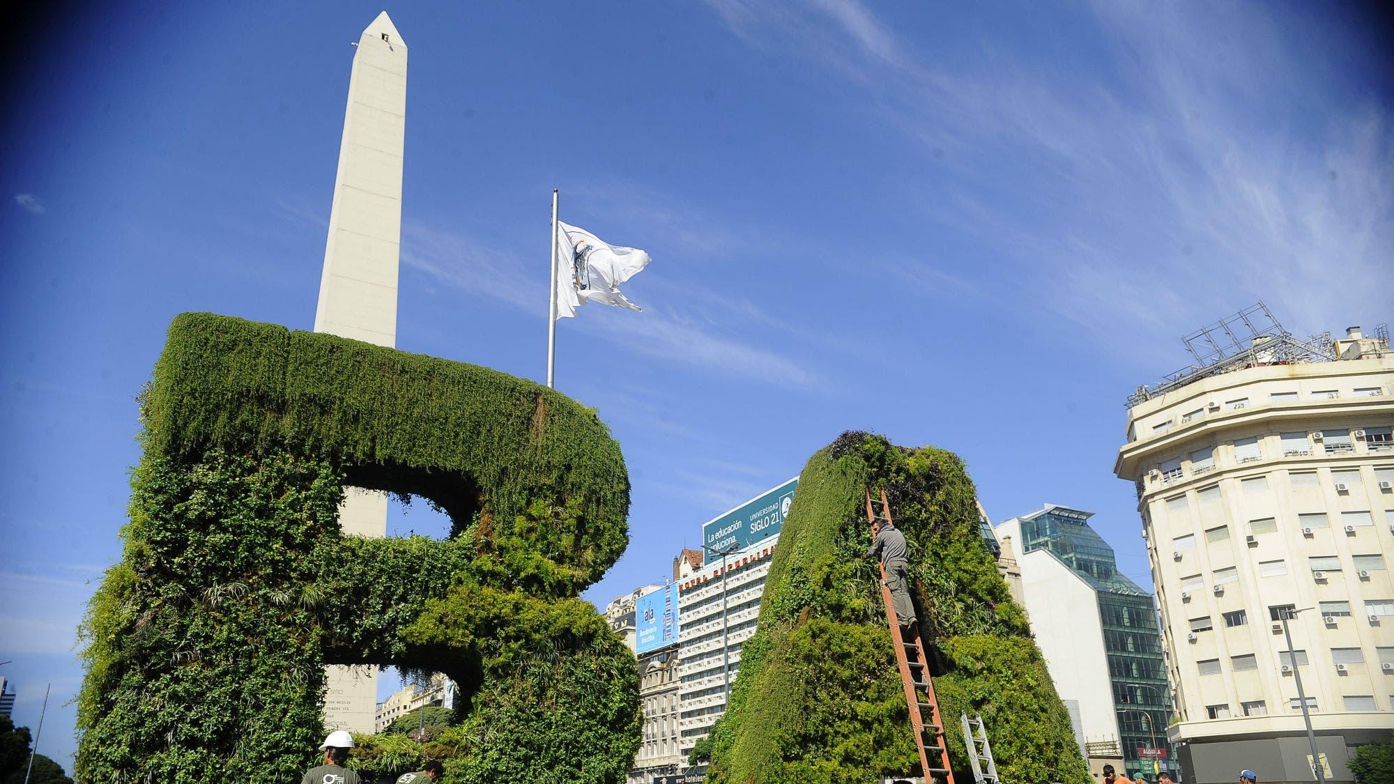 Inauguraron un jard n vertical gigante frente al obelisco for Jardines verticales buenos aires