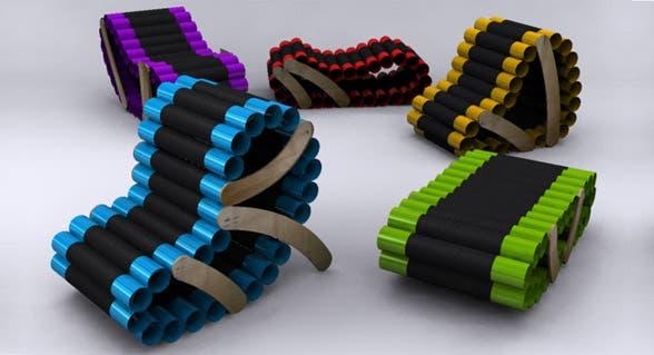 En qué lugar de tu casa pondrías estos asientos hechos con tubos de