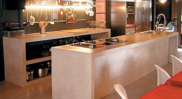 10 estilos de cocina con cemento alisado   común   espacio living